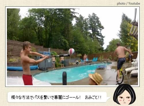 プールの周りでパスを繋いでダンクする動画がカッコイイ