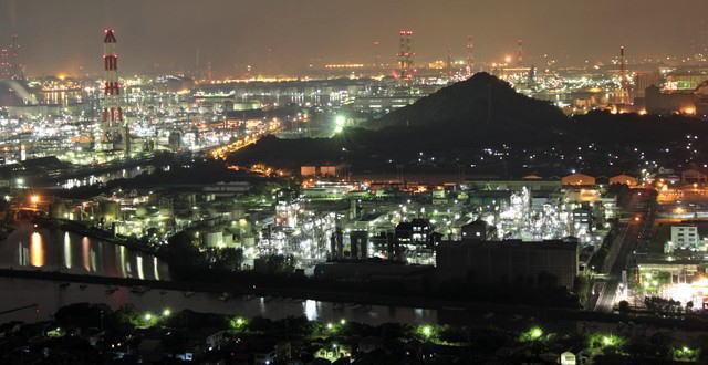 水島コンビナート 工場夜景