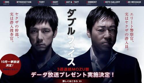 ダブルフェイス、ドラマ一挙放送中!映画 MOZUと主要キャストがほぼかぶり?