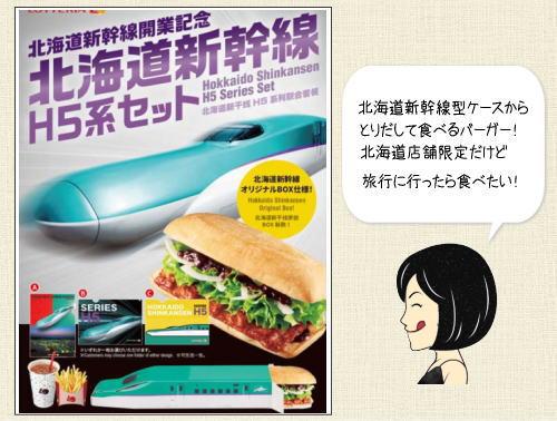 ロッテリア、北海道新幹線ケースに入ったH5系バーガーセット前倒し発売