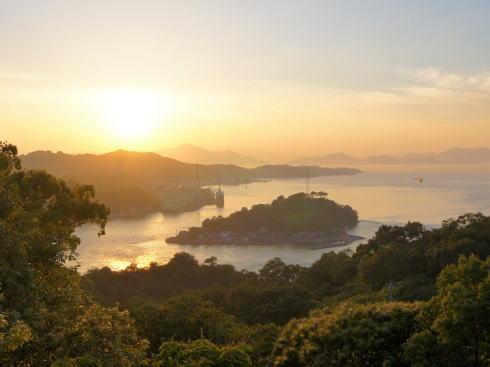 糸山公園から見る来島海峡の夕焼け