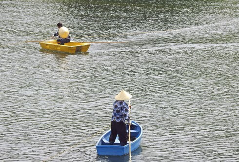 水中を泳ぐこいのぼり「鯉のぼりの川流し」山口県防府市
