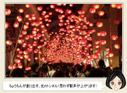 山口七夕ちょうちんまつり、優しい灯りが包む美しい光のトンネル