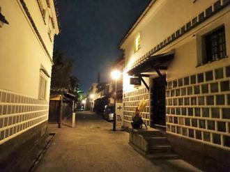 倉敷・美観地区の夜景、風情ある静けさの中で夜のお散歩