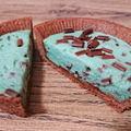 チョコミントタルト、鮮やかミントブルーが衝撃のローソンスイーツ