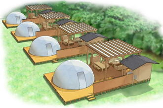 グランピング施設がサントピア岡山総社にオープン、冷暖房付きのドーム型テントはリゾート風
