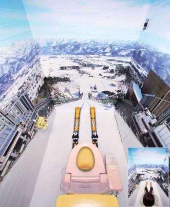 便座に座ってスキージャンプ体験ができる!斑尾高原スキー場のトイレが凄い