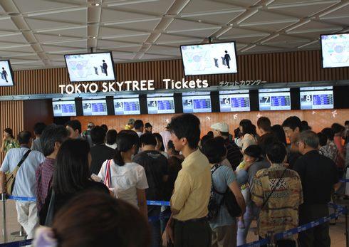 東京スカイツリー 当日券の待ち時間は、1時間程度