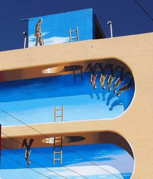 イランのアーティストが描くビルのトリックアート