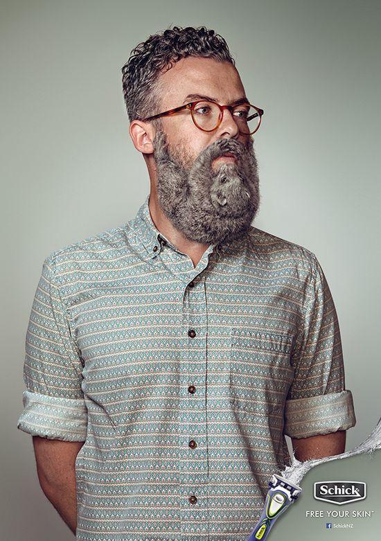 髭剃り・カミソリのシックから、動物がヒゲになったポスター