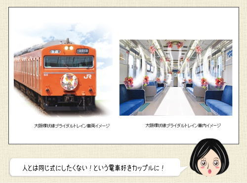 ブライダルトレイン、いい夫婦の日に大阪環状線で車内結婚式はいかが?
