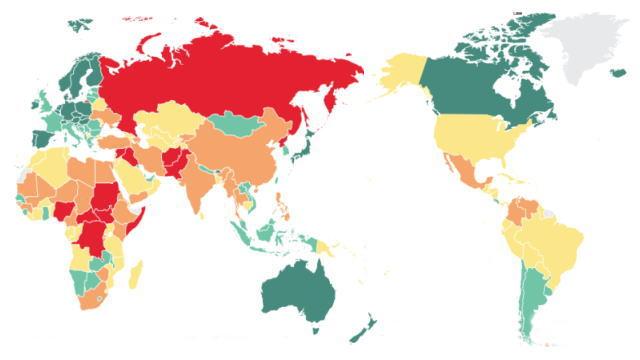 平和指数 世界地図