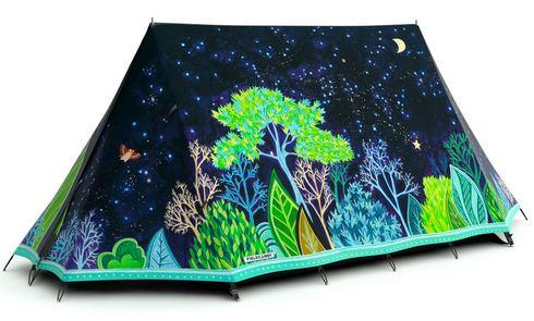 夜の森が素敵に描かれたテント
