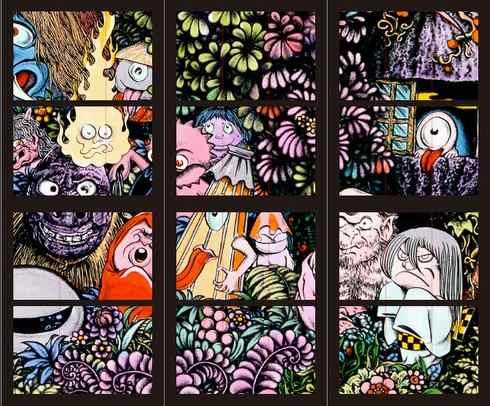 米子空港に鬼太郎のステンドグラス「妖怪たちの森」光で色鮮やかに!