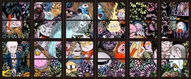 米子空港に東城したゲゲゲの鬼太郎ステンドグラス「妖怪たちの森」