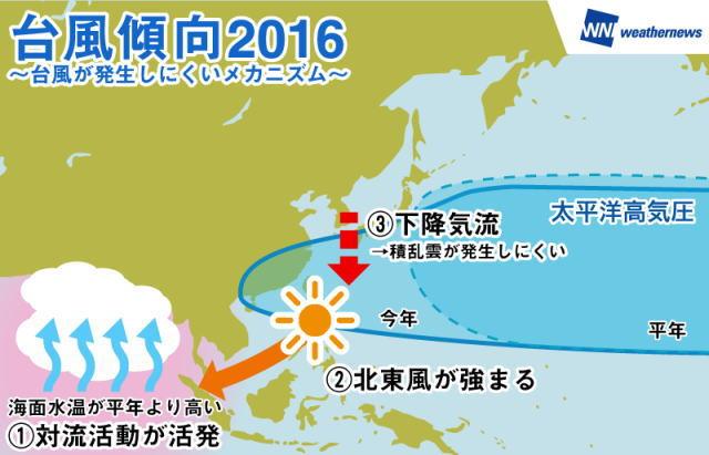 2016年の台風発生傾向