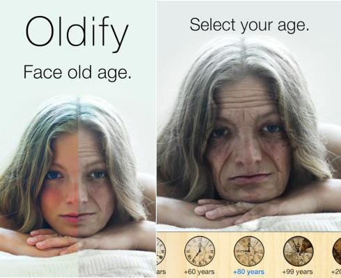 老け顔アプリ サンプル画面