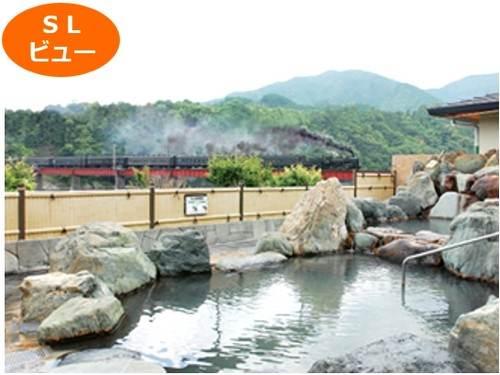 絶景露天風呂、SL機関車ビュー「川根温泉ふれあいの泉」