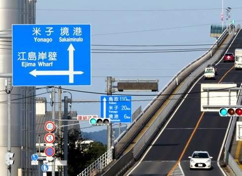 ベタ踏み坂は、鳥取県と島根県の県をまたぐ県境にある橋