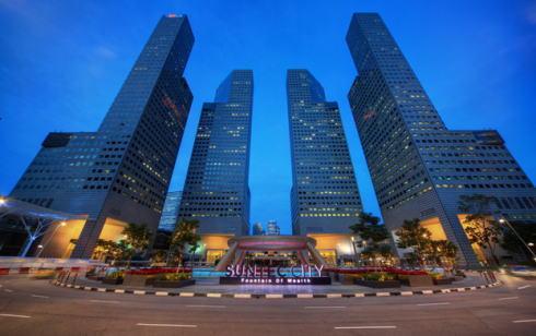 シンガポール サンテックシティ 風水で左手を表現