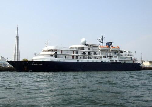 カレドニアンスカイが広島港へ寄港