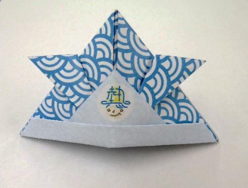 熱中症対策リーフレットで折り紙兜