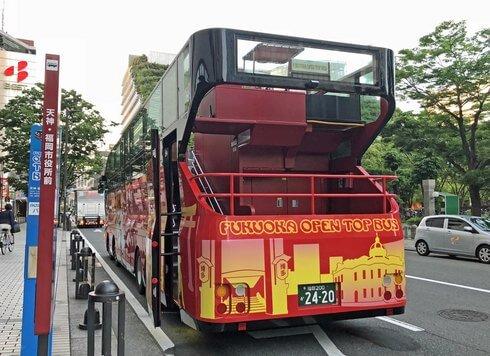 福岡オープントップバスの後ろ姿