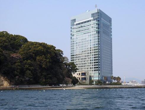 元宇品海岸とグランドプリンスホテル広島