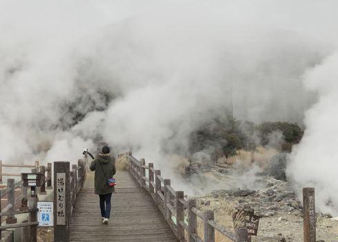 雲仙地獄の入口、湯けむり橋