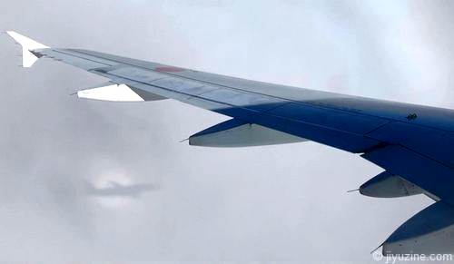 雲の中に飛行機の影と虹のリング「ブロッケン現象」珍しくて不思議な自然現象