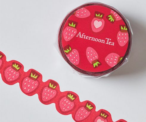 アフタヌーンティーで、苺柄のマスキングテープ プレゼント