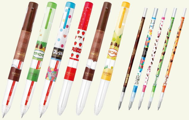 多機能ペン「サラサセレクト」も明治コラボデザインに
