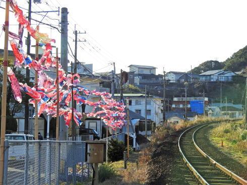 宮崎 天福球場 近くの踏切に鯉のぼり2