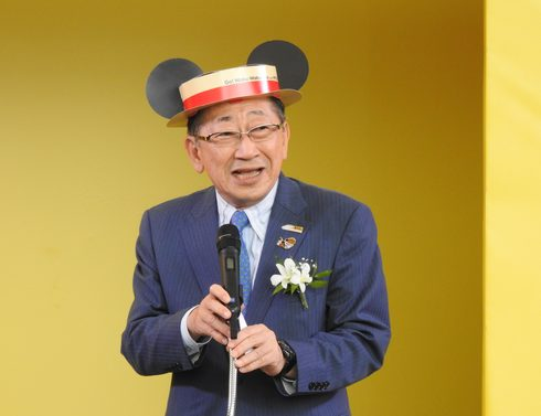 JR九州の青柳社長も、ミッキーのカンカン帽で