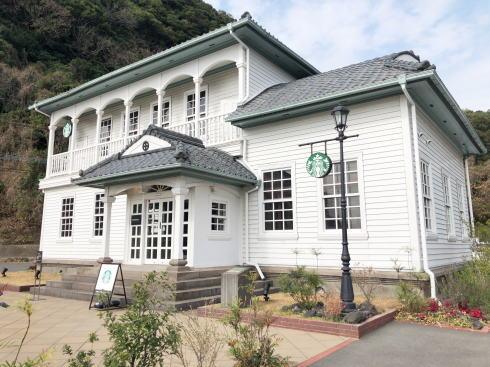 桜島が見えるオシャレスタバ、鹿児島仙厳園店