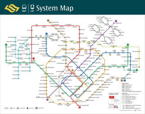 シンガポール 交通機関MRTの路線図