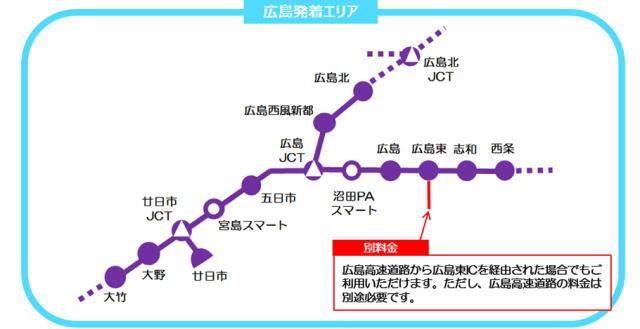さが観光周遊ドライブパス 広島からの発着エリア