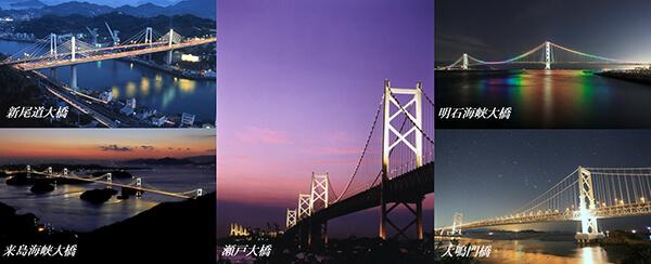 瀬戸大橋のライトアップ、2020年4月から通年点灯に!