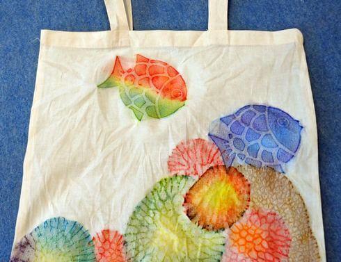 沖縄で「サンゴ染め体験」トートバック完成!