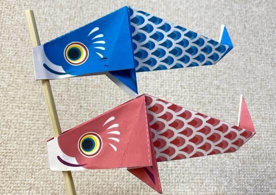 折り紙で「鯉のぼり」作ろう!新聞広告に可愛い台紙付き、台紙ダウンロードも