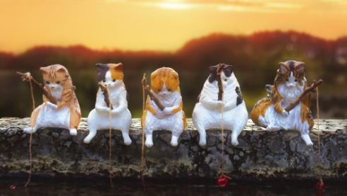 猫カプセルトイ「釣り日和」が発売、フチに座らせられるシリーズキタ!