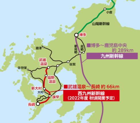 西九州新幹線 開通する区間マップ