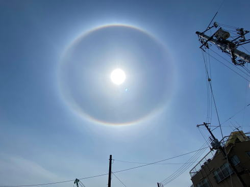 太陽に虹色の輪「ハロ・日暈」珍現象に気分上がるも天気変化の可能性も