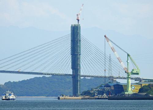 工事中の岩城橋(ゆめしま海道)写真